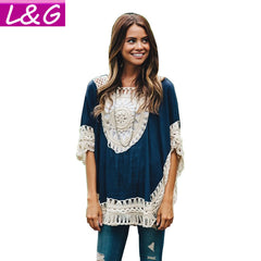 Oversized Lace Crochet Knitted Blouses