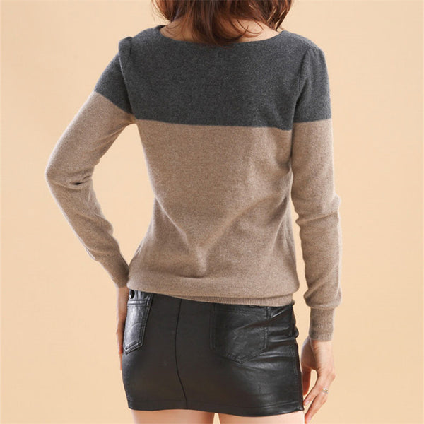 Cashmere Sweater Women Patchwork Pullovers O-Neck Knitted Soft Warm Cashmere Pullover