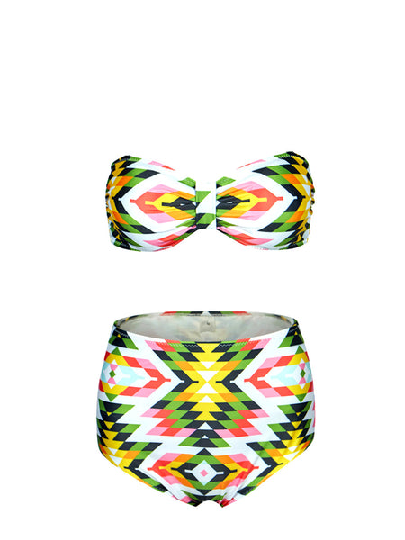 Vintage High Waist Swimsuit Bandeau Tribal Print