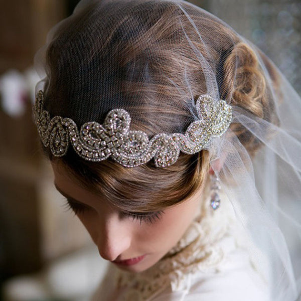 Bridal Wedding Veil Headband Lace Edge Appliqued With Crystal