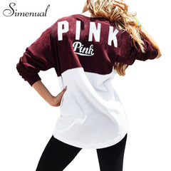 Pink Letter Autumn Sweatshirt Slim loose fit
