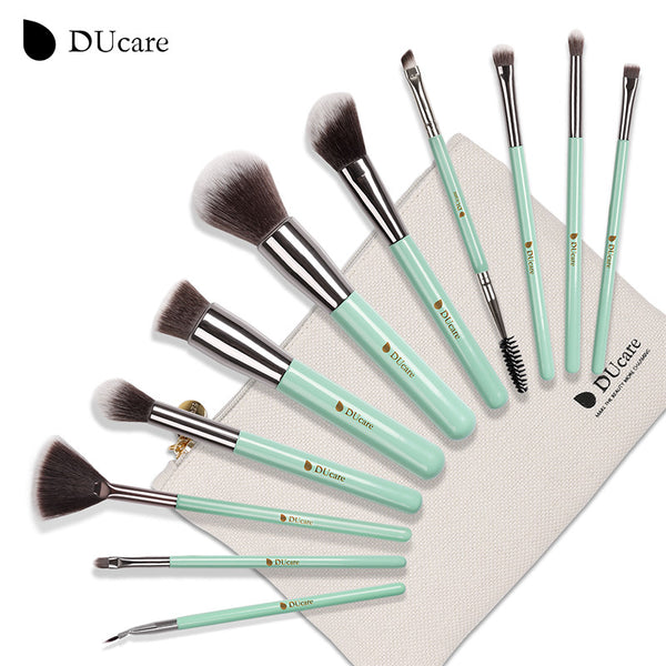 11pcs makeup brushes set professional brushes light green