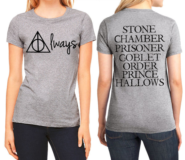 Deathly Hallows Always and Book Titles Front Back T Shirt HARRY POTTER