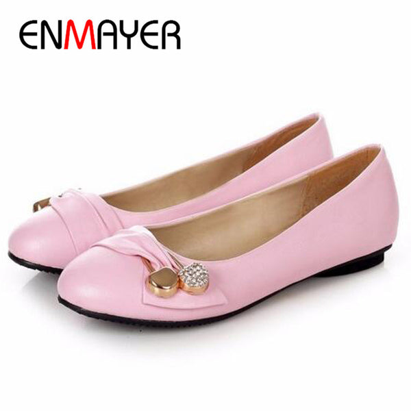 Buckle Woman Flats Ballet Shoes  Metal Round Toe