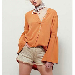 Flare sleeve Buttons Shirt Blouse Tops