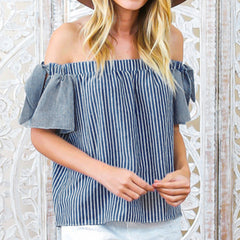Fashion Off Shoulder Blue Striped Women Blouse