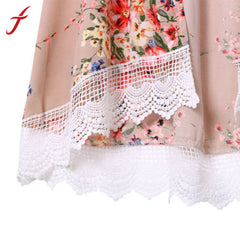 Vintage Chiffon Blouse Women Cardigan Fringed Hem Lace Shawl Oversized Tops
