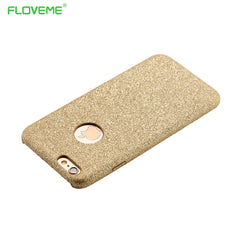 For iPhone 6 6S Bling Glitter Cover Ultra Thin Logo Hole Hard Plastic Case For iPhone 6 4.7/6S