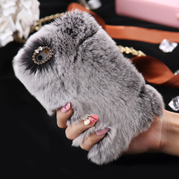 For iPhone 7 / 7 Plus Rabbit Fur Hair Case iPhone 6 6s 6 Plus 6s Plus SE 5s 5 Girly Cases Capa