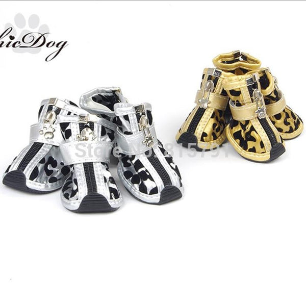 Leather Gold Zebra Print Dog Shoes