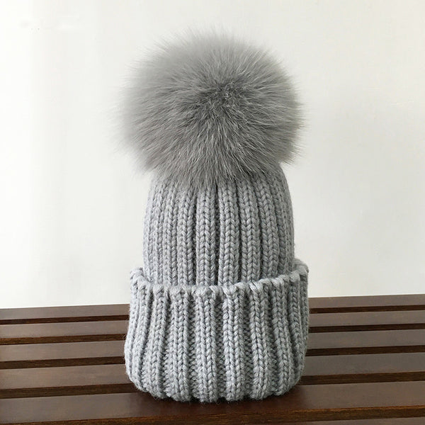 Faux Fox Fur Knitted Wool Skullies Beanie
