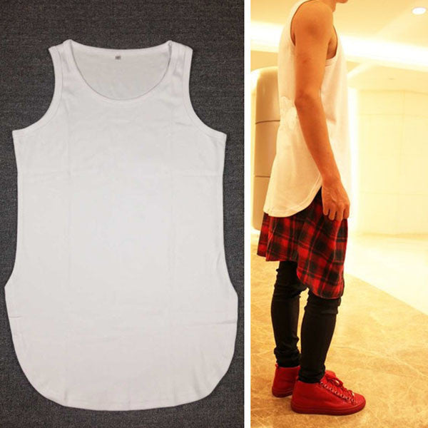 Long Tank Top boxerwhite & black streetwear