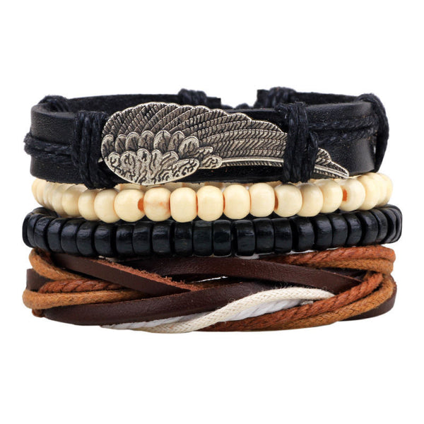 4pcs Adjustable Leather Bracelets Men