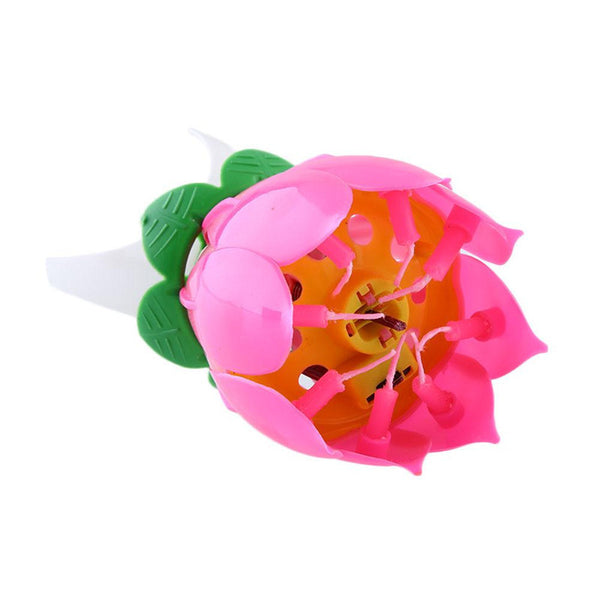 Musical Lotus Flower Happy Birthday Candle