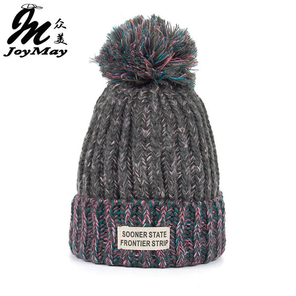 Knit Beanie Hats with pompom