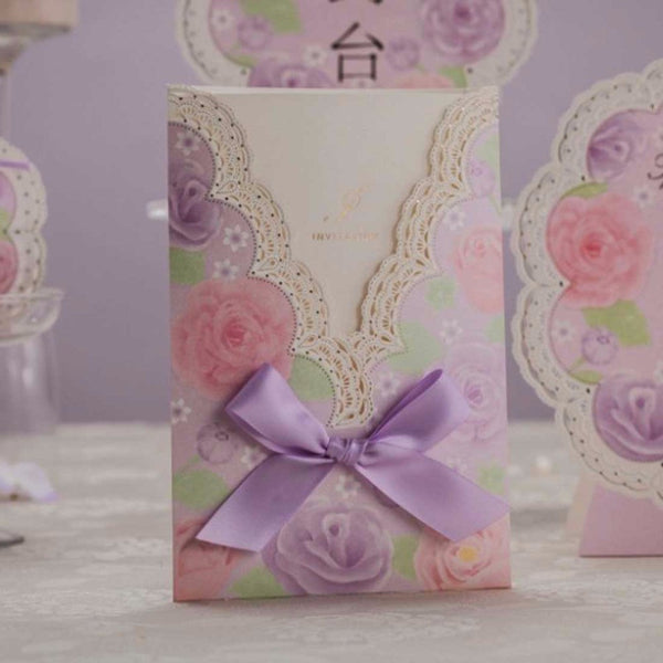Laser Cut Wedding Invitations Cards Purple Flowers 100PCS