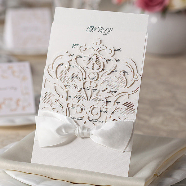 Laser Cut Wedding Invitations Kit Lace Hollow Flower 50PCS