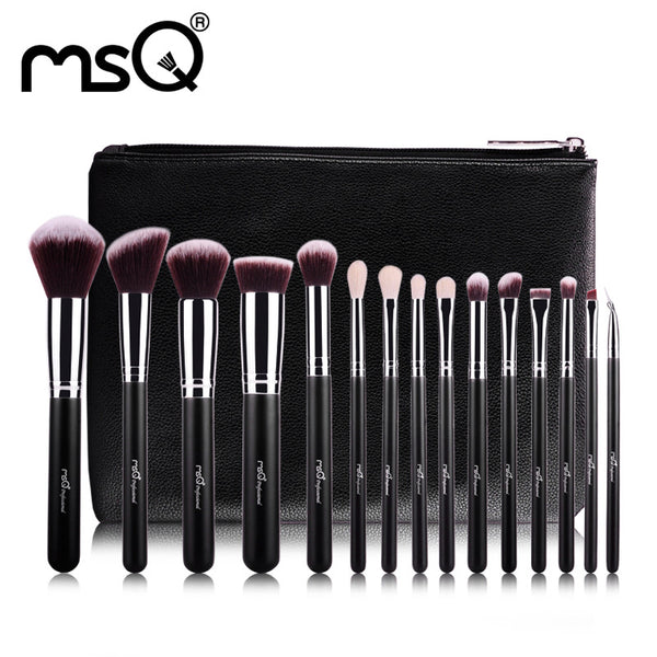 15pcs Professional Makeup Brushes Set Synthetic Hair With Leather Case