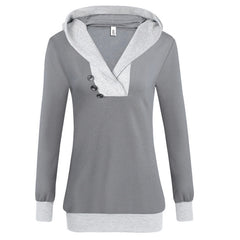 Casual Patchwork Pattern Hooded Pullover