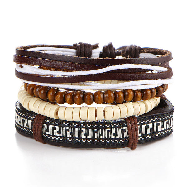 Multi-layer Bracelet Braided Leather Wooden Bead