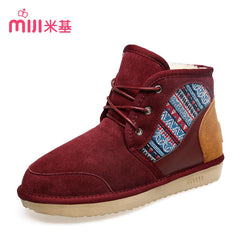 Ankle Boots Ladies leather Short Snow Boots Lace-up