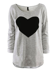 Fun Love Blouse Tops O-Neck Long Sleeve Heart Printed Shirt