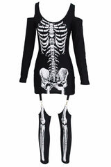 Punk X-rayed Halloween Off-shoulder Skeleton Dress Costume]