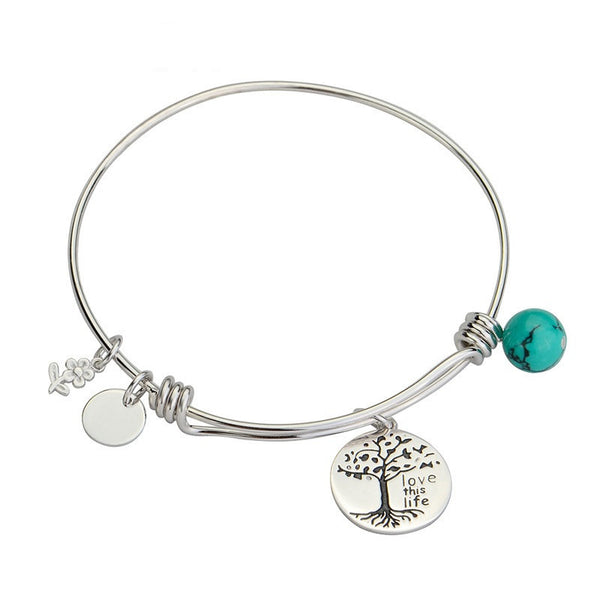Alex and Ani Style Turquoise Charm Bangle Bracelet