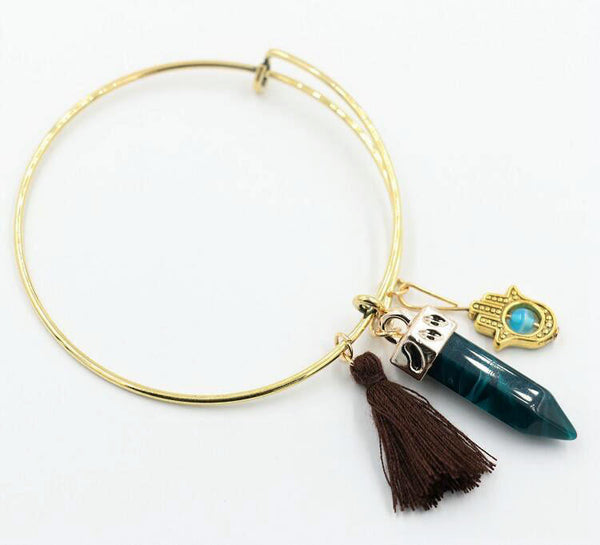 Alex and Ani Style Blue Stone Tassel 14K gold Bangle