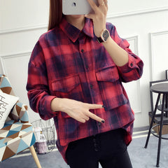 Plaid Shirt Women Tops Spring Slim Casual Blouse
