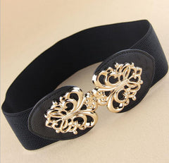 Gold hollow out metal buckle belt