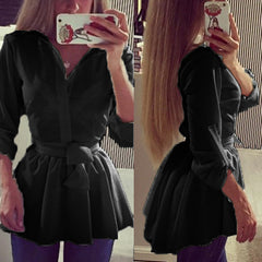Long Sleeve Lapel Belted Blouse Dress