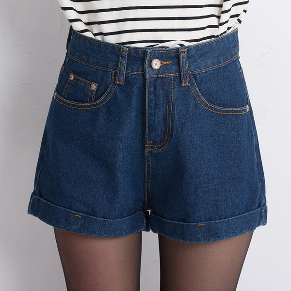 Plus size Vintage high waist short jeans