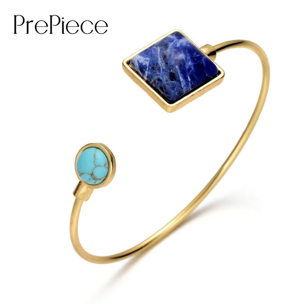 Adjustable Cuff Blue Stone Bangle