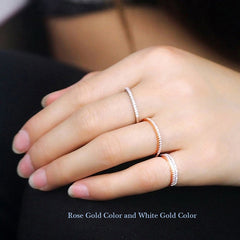Rose Gold Plated Wedding Band Eternity Rings For Women