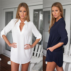 Long Sleeve Tunic V-Neck Loose Tops Casual Blouse