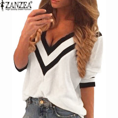 Casual Deep V Neck Splicing Blouses Ladies Loose 3/4 Sleeve Shirts