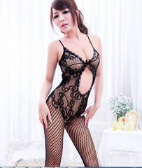 Sexy Women Black Fishnet Open Crotch Bodystocking Bodysuit Lingerie Crotchless