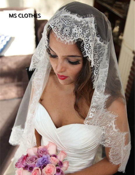 Simple White Ivory Wedding Veils one Layer Eyelash Lace Custom Made Bridal Accesories