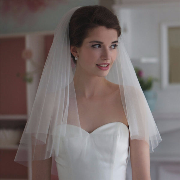 Simple White Tulle Two Layer Wedding Veils