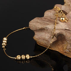 Heart Shaped 18K Gold Pleated Ankle Bracelet