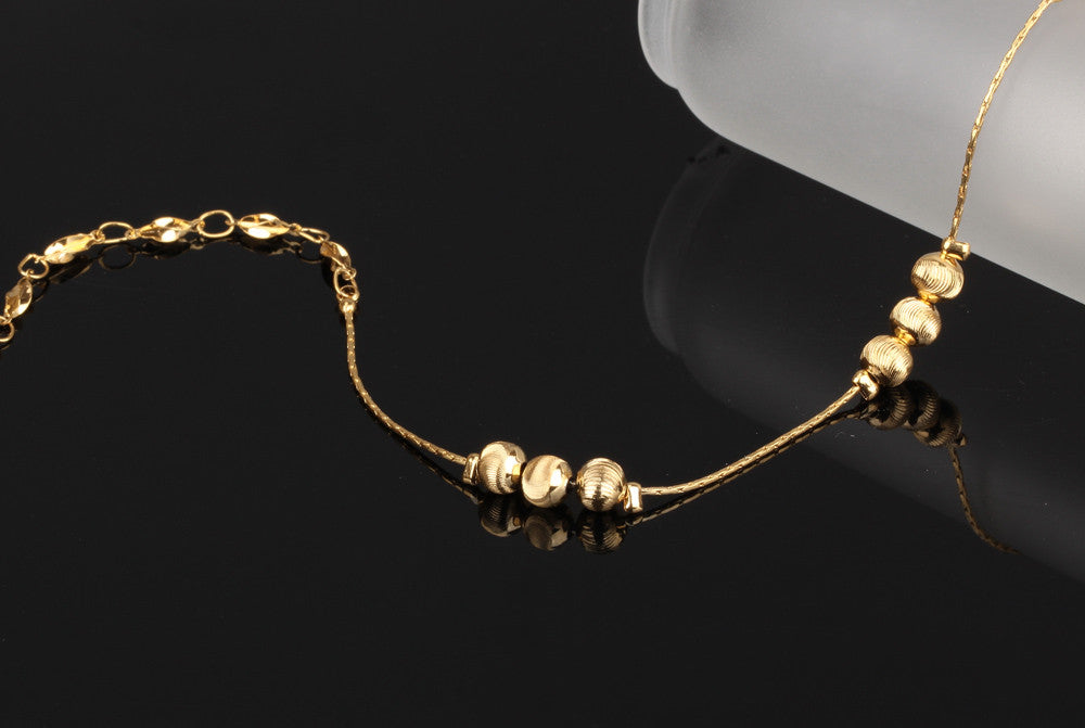filled lucky anklet ankle heart bracelet detail with multilayer women product bead charm pendent gold