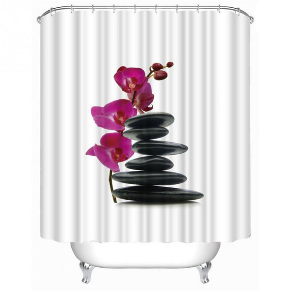 Stones Flower Shower Curtain