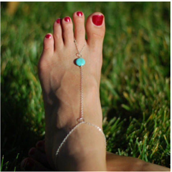 Turquoise Anklet Foot Jewelry Barefoot Sandals