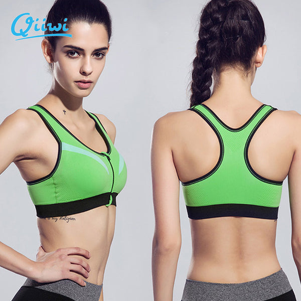 Top Bra Double layer Women Zipper Front Yoga Bra for Running Gym Fitness