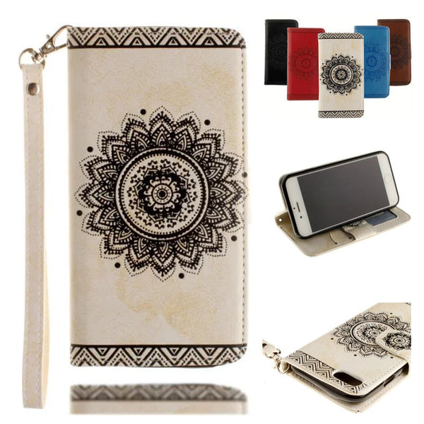Embossed Flowers Leather Case Wallet Flip Cover Mobile Phone Accessories