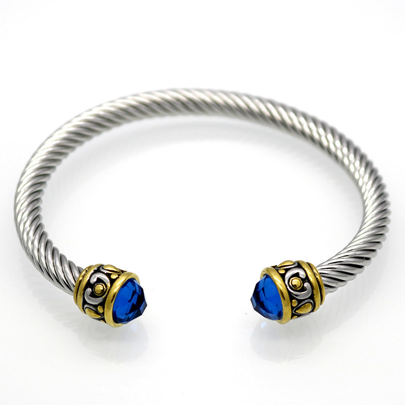 wire stainless bangles twist fashion bangle s bracelet steel item cuff women cable men new