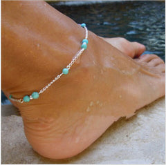 Turquoise Beaded Silver Chain Anklet