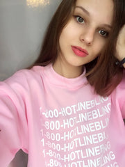 1-800 Hotline Bling Drake Light Pink Sweatshirt Hoodies Women