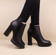 Winter High Heel Boots Pointed Martin Boots